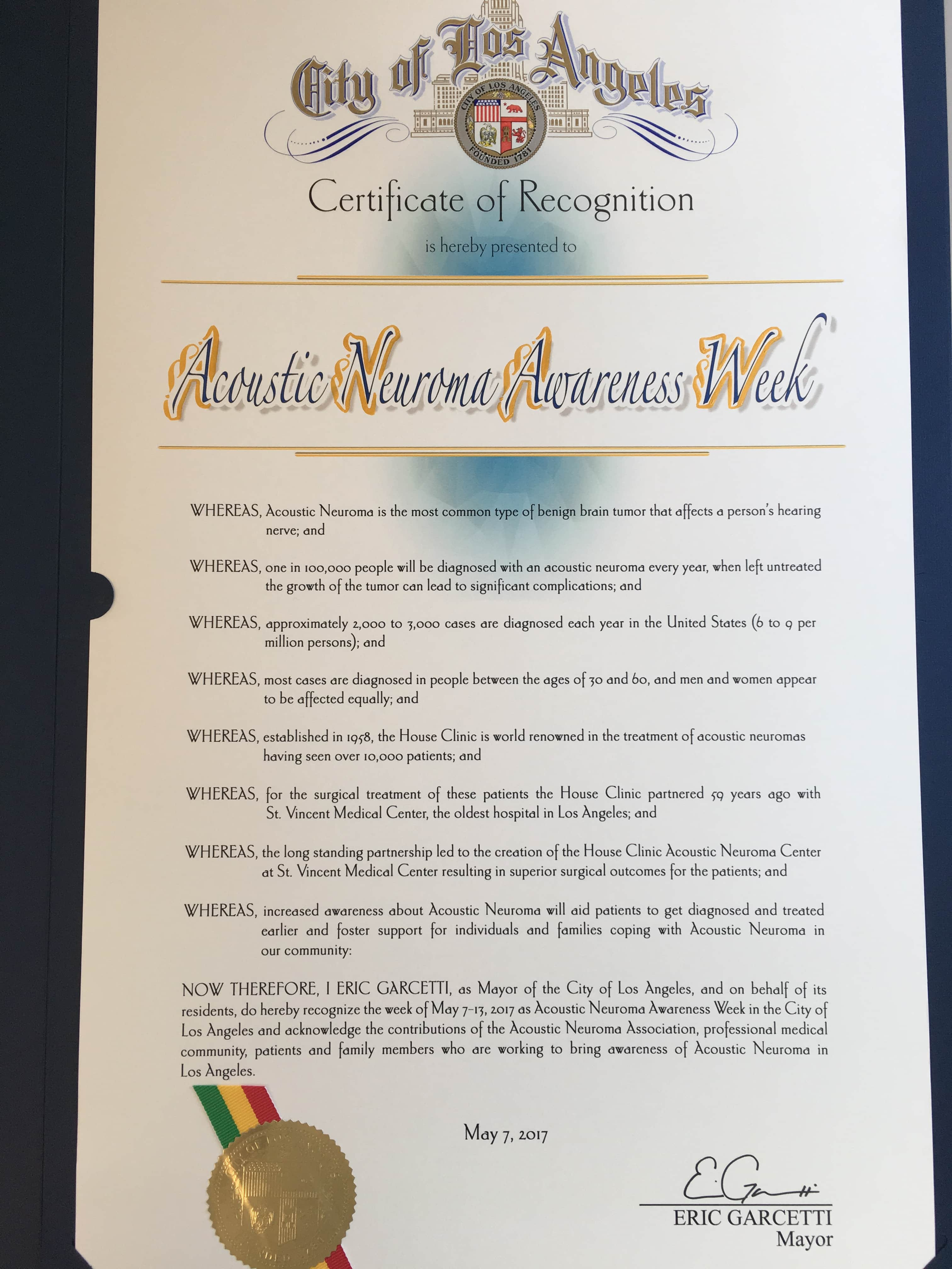 The week of May 7-13 has been recognized as Acoustic Neuroma Awareness W-min